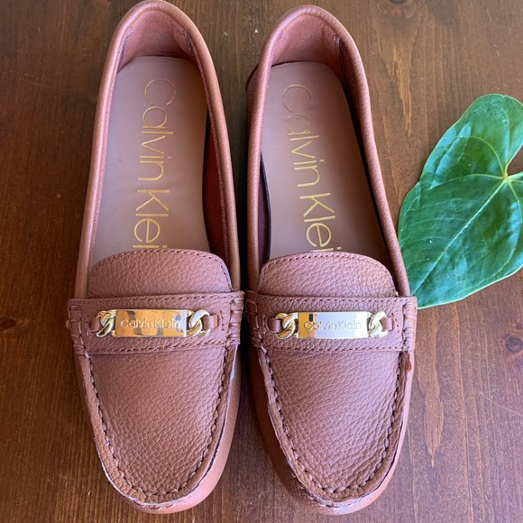 Calvin Klein Loafers Leather Pebbled Brown 8